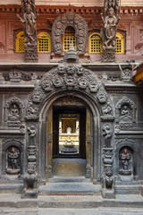 Entrance of golden temple at Patan near Kathmandu in Nepal