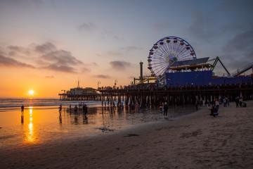 Santa Monica pier & beach at sunset, Los Angeles, California