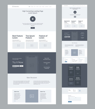 Landing page wireframe design for business. One page website layout template. Modern responsive design. Ux ui website: features, call to action, new structure, statistics, options, blog, contacts.