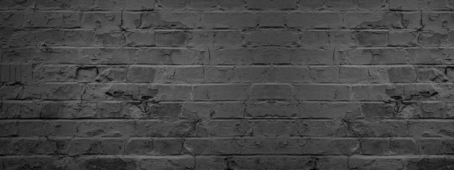 Poster Brick wall Dark black anthracite damaged rustic brick wall texture banner panorama