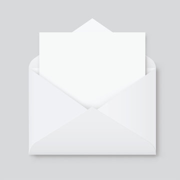 Realistic mockup blank white letter paper C5 or C6 envelope front view. A6 C6, A5 C5, template - stock vector.