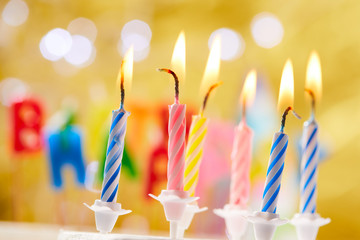 birthday candles on the yellow background