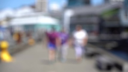 Fototapete - Blurred video of Downtown Wellington City waterfront view in the capital of New Zealand; Slow motion