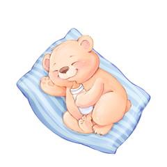 Sleeping Baby Bear. Cute cartoon catd with Teddy