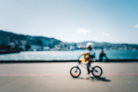 Blur image of Wellington City waterfront view in the capital of New Zealand