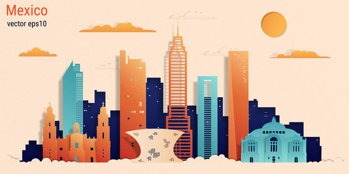 Mexico city colorful paper cut style, vector stock illustration. Cityscape with all famous buildings. Skyline Mexico city composition for design.