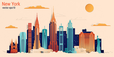 New York city colorful paper cut style, vector stock illustration. Cityscape with all famous buildings. Skyline New York city composition for design. Fotobehang