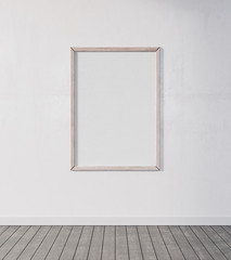Mock up poster, Empty Room with white wooden frame, 3d render 3d illustration
