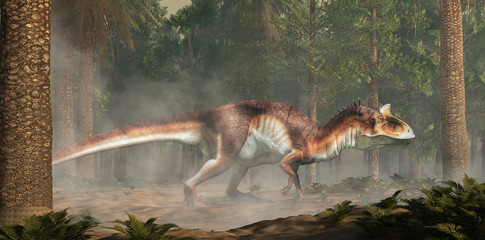 Cryolophosaurus was a carnivorous theropod dinosaur, known for its distinctive crest, it lived during the Jurassic in Antarctica. Depicted in a forest. 3D Rendering.