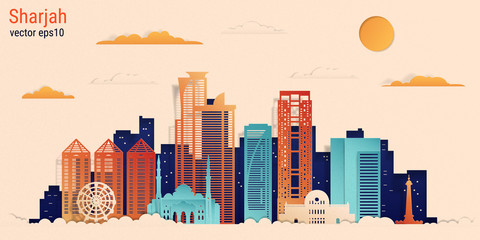 Sharjah city colorful paper cut style, vector stock illustration. Cityscape with all famous buildings. Skyline Sharjah city composition for design. Fotobehang