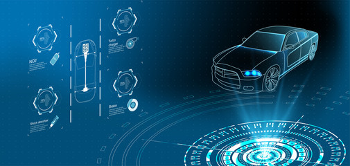 Futuristic car service, scanning and auto data analysis. Intelligent car banner. Futuristic isometric smart car and icons with machine benefits. Vector illustration