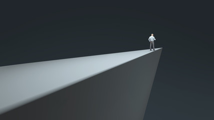 man standing on the edge of the abyss