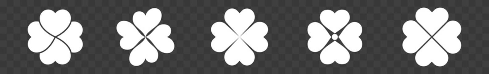 Shamrock Icon White   Shamrocks   Four Leaf Clover   Irish Symbol   St. Patrick's Day Logo   Luck Sign   Isolated   Variations