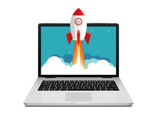 Fototapeta Vector rocket launch website computer concept illustration. Business start rocket launch obraz