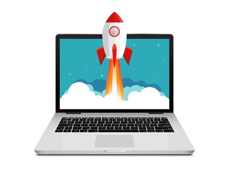 Vector rocket launch website computer concept illustration. Business start rocket launch