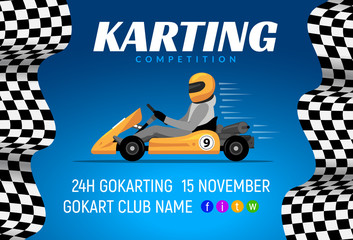 Go kart race background poster. Karting race car cartoon helmet driver sport backgorund