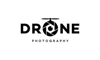 illustration wordmark logo from drone photography vector logo design concept