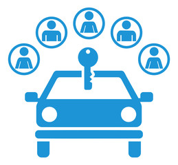 Fototapete - Car sharing icon with group and key