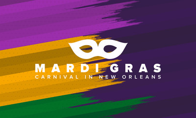 Mardi Gras Carnival in New Orleans. Fat Tuesday. Traditional holiday, celebration annual. Folk festival, costume masquerade, fun party. Carnival mask. Poster, card, banner and background. Vector