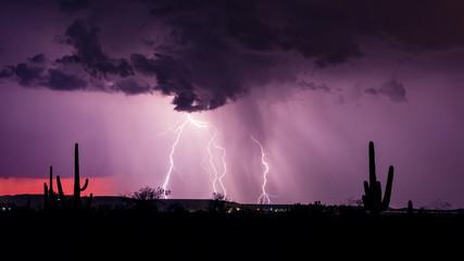 Monsoon season lightning storm in the desert