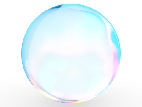3d crystal ball pink blue gradient colors  isolated on white background. Abstract bubble glossy pastel 3d isolated rendering.