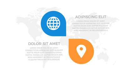 Set of orange, blue elements for infographic with world map presentation slides.