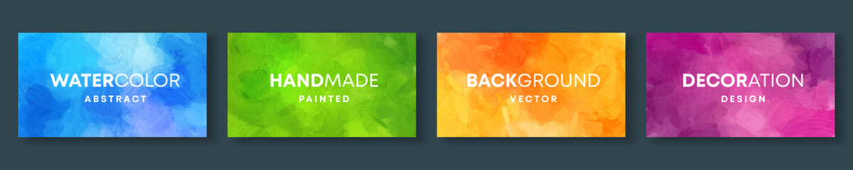 Fotobehang - Set of high quality vector colorful watercolor backgrounds for poster, brochure or flyer