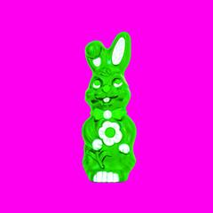 Easter bunny neon green magenta background Pop art
