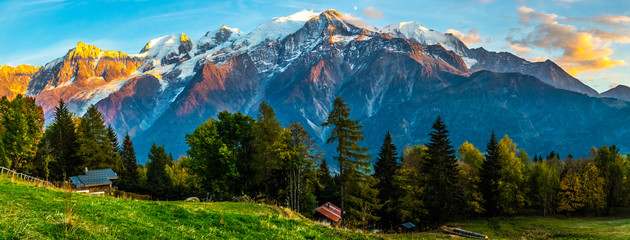 The French Alps and Mont Blanc Tower Above Pastoral Scene at Sunset Wall mural