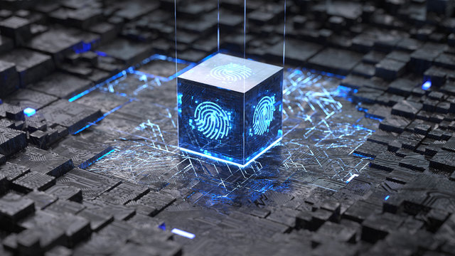 integrated circuit,authentication online, Fingerprint login authorization and cyber security concept. 3d rendering,conceptual image.