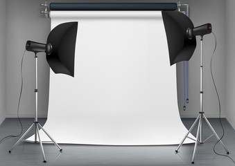 Vector empty photo studio with lighting equipment