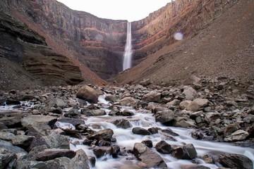 Long exposure of majestic Hengifoss waterfall, Egilsstadir, Iceland