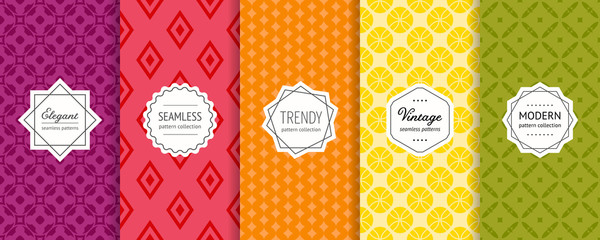 Vector geometric seamless pattern collection. Set of bright colorful background swatches with elegant modern labels. Cute abstract textures. Pretty design in green, yellow, orange, red, wine color Wall mural