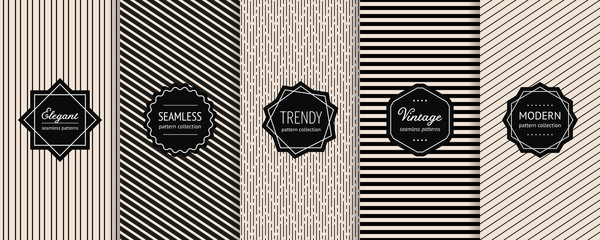 Striped seamless patterns set. Vector collection of minimalist geometric background swatches with elegant modern labels. Universal monochrome design with lines, stripes. Black and white texture Wall mural