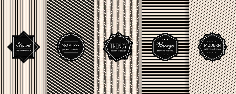Striped seamless patterns set. Vector collection of minimalist geometric background swatches with elegant modern labels. Universal monochrome design with lines, stripes. Black and white texture