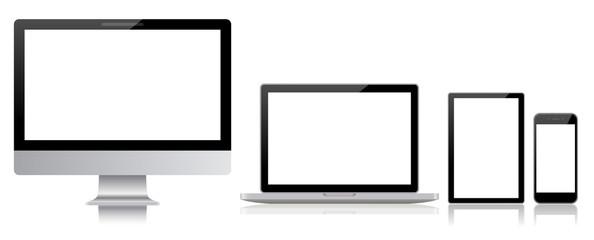 デスクトップとノートパソコンとスマホとタブレット-白背景