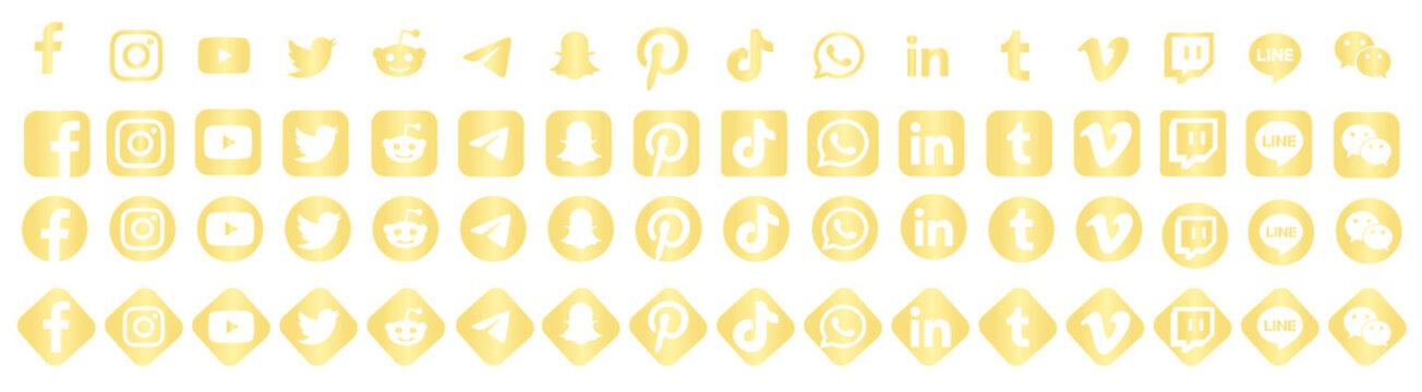 Facebook, twitter, instagram, youtube, reddit,telegram,snapchat, pinterest, tiktok logo.. Facebook, twitter, instagram, youtube, reddit,telegram,snapchat, pinterest, tiktok icon gold