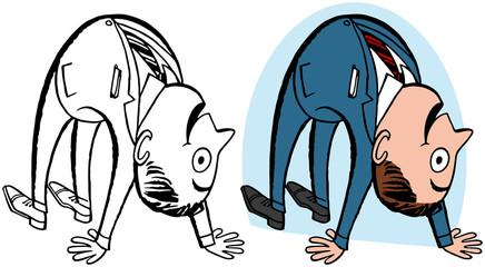 A cartoon of a man literally bending over backwards.