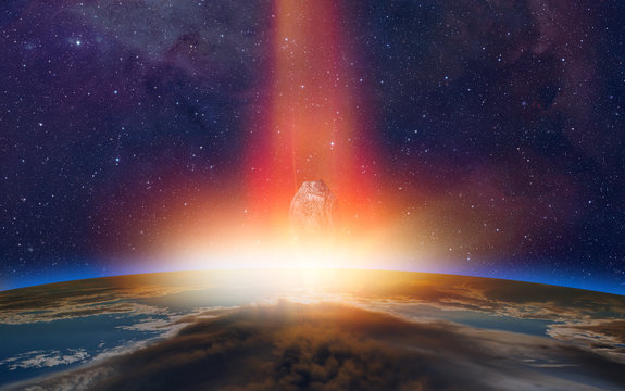 """Attack of the asteroid (meteor) on the Earth """"Elements of this image furnished by NASA"""