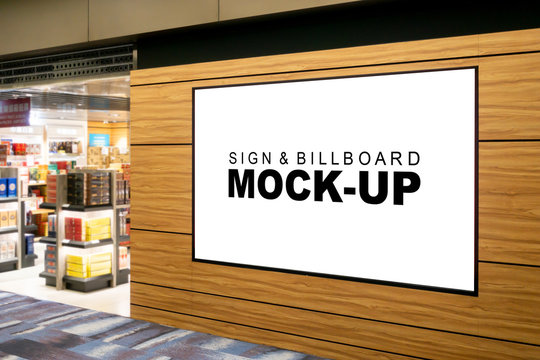 Mock up blank billboard on panel at showroom in airport