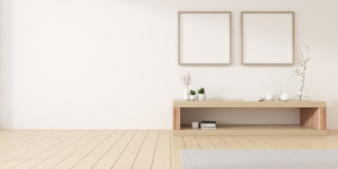View of white living room in minimal style with white blank picture frame and small timber cabinet on wood laminate floor.Perspective of interior design. 3d rendering.