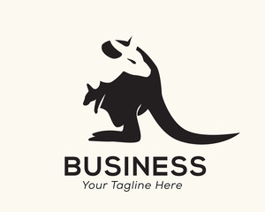 Kangaroo look back head negative space at body logo design inspiration