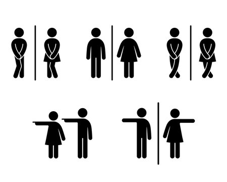 Set of WC sign Icon Vector Illustration on the white background. Vector man & woman icons. Funny toilet symbol