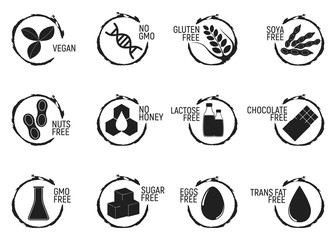 Set of allergen food, GMO free products icon and logo. Intolerance and allergy food. Concept black and simple vector illustration and isolated art