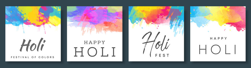 Happy holi vector colorful background templates set for card design