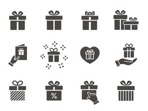 Gift box icon set. Illustrations isolated on white.