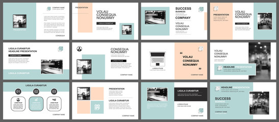Presentation and slide layout template. Design green and orange pastel geometric background. Use for business annual report, flyer, marketing, leaflet, advertising, brochure, modern style.