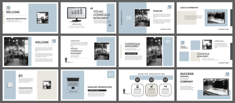 Presentation and slide layout template. Design blue and brown pastel geometric background. Use for business annual report, flyer, marketing, leaflet, advertising, brochure, modern style.