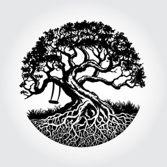 Root Of The Tree vector illustration with the swing under the tree, this logo symbolize a protection, peace,tranquility, growth, and care.