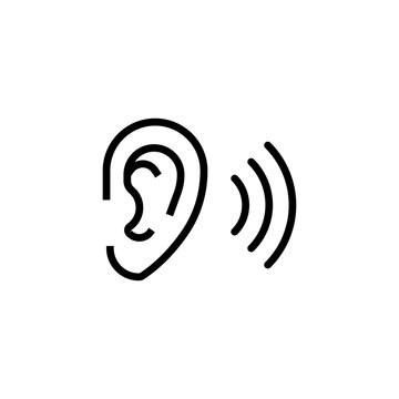 Simple ear line icon.